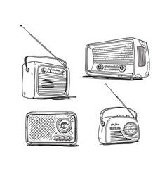 Set vintage radios line drawing vector