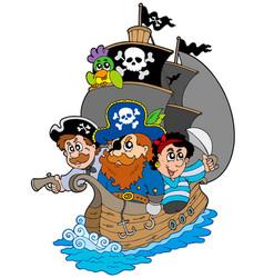 ship with various cartoon pirates vector image