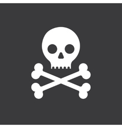 Skull and crossbones icon on a black background vector