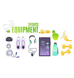 Sports equipment set with cartoon of vector