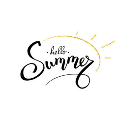 summer hand lettering text with gold vector image