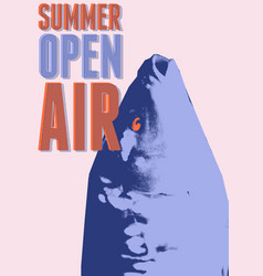 Summer open air fest retro grunge pop-art poster vector