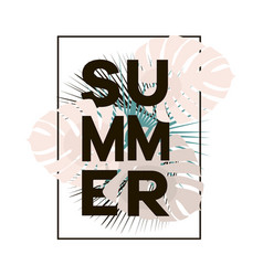 summer text in black frame with tropical leaves on vector image