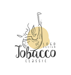 tobacco classic logo design emblem can be used vector image