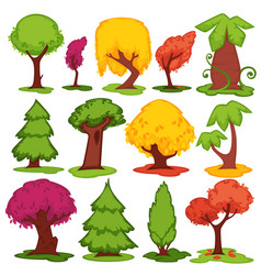 trees flat icons coniferous deciduous vector image