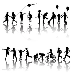 two sets children silhouettes playing vector image
