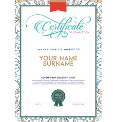 Vintage color and floral print detailed certificat vector