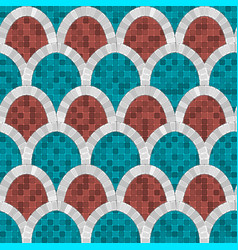 white arch mosaic seamless pattern in antique vector image