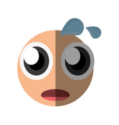 Worried emoticon cartoon design vector