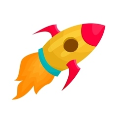 Yellow rocket icon in cartoon style vector image