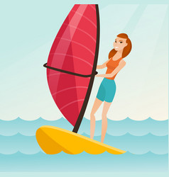 Young caucasian woman windsurfing in sea vector
