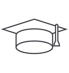 graduation cap line icon sign vector image vector image