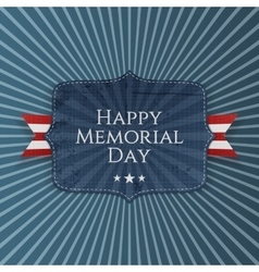 Happy Memorial Day greeting Sign with Ribbon vector image vector image