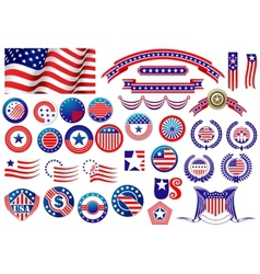 Patriotic American badges and labels vector image vector image