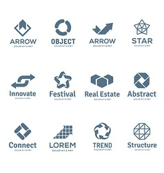 Set of abstract business logo icon design template vector image vector image