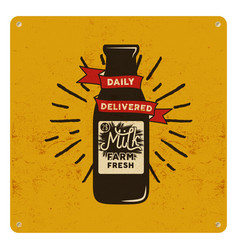 Vintage organic raw milk sign on yellow card vector