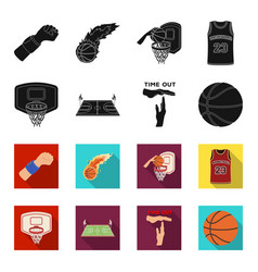 basketball and attributes blackflet icons in set vector image