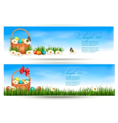 Easter banners with Easter eggs in basket and vector image