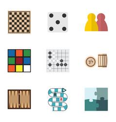 flat icon entertainment set of chess table gomoku vector image vector image
