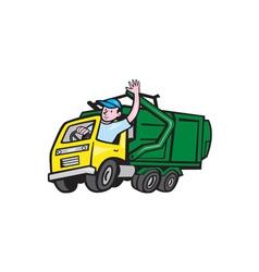 Garbage Truck Driver Waving Cartoon vector image vector image