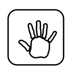 monochrome contour square handprint icon vector image