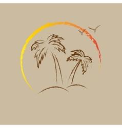 Palm tree contours vector image