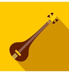 Traditional Indian sarod icon flat style vector image vector image