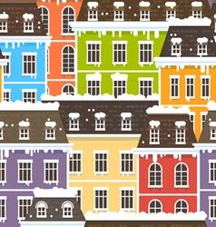 Winter City Seamless Pattern vector image