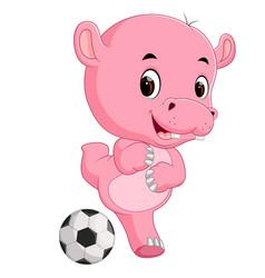 funny hippo cartoon with ball vector image