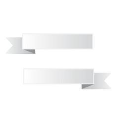 gray ribbon banner on white background white vector image vector image