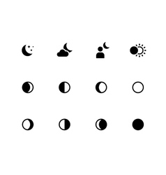 Moon phases icons on white background vector image