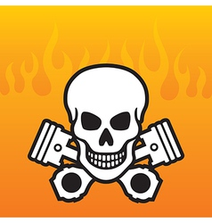 Skull and Pistons with flame background vector image vector image