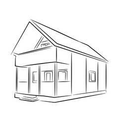 suburban wooden house black sketch vector image