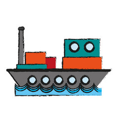 cargo ship sideview icon image vector image vector image