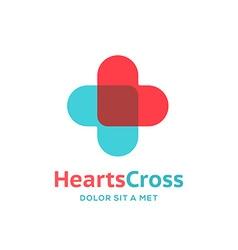 Cross plus heart medical logo icon design template vector image vector image
