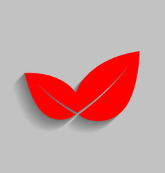 leaf sign red icon with soft vector image vector image