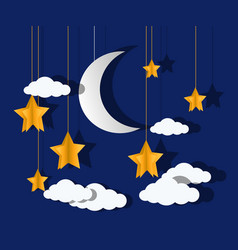 moon and stars paper-art vector image