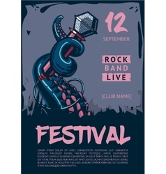 Music poster template for rock concert Octopus is vector image vector image