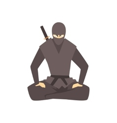 Ninja Wearing Full Black Covering Clothes Martial vector image vector image
