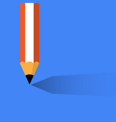 pencil with shadow on blue vector image