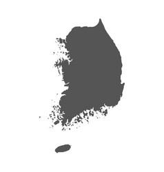 south korea map black icon on white background vector image