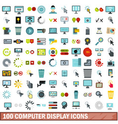 100 computer display icons set flat style vector