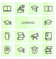 14 learning icons vector