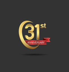 31 years anniversary logo style with swoosh ring vector