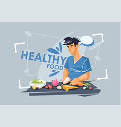 A young guy is preparing lunch healthy diet vector