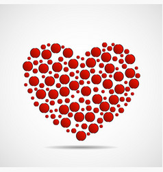 abstract heart of red circles vector image