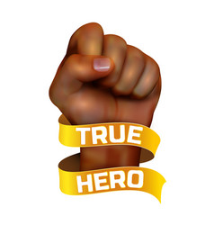 african american human fist witn golden ribbon vector image