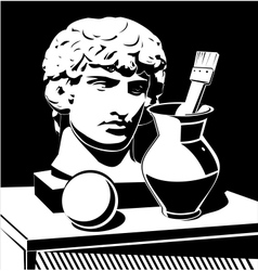 Apollo head jug and brush vector