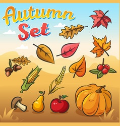 autumn set with leaves vegetables vector image