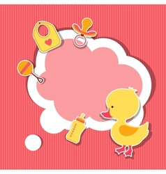 Background photo frame with little cute baby duck vector image